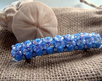 "Beaded French 3"" Barrette - Baby Blue Floral"