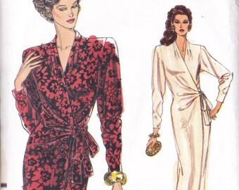 Misses Wrap Dress Pattern - Vogue 7660 Misses Sizes 12 ~ 14 Straight Wrap Front Dress ~ Pleated Neckline - Cut To Size 14