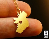 IRELAND Map Handmade Personalized Goldplated Sterling Silver .925 Necklace in a gift box