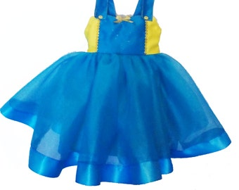 Minion Tutu Dress: blue and yellow dress, birthday party, trip Costume, special occasion, adjustable, meet and greet, gold and turquoise