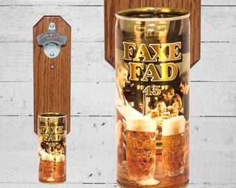 Faxe Fad Beer Bottle Opener with Vintage Denmark Beer Can Cap Catcher 16oz