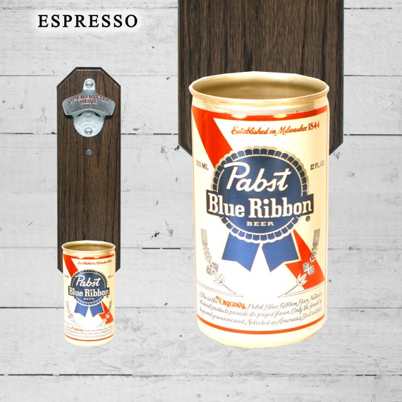 Pabst Blue Ribbon Wall Mounted Bottle Opener with Vintage PBR Beer Can Cap Catcher - Great Groomsmen Gift