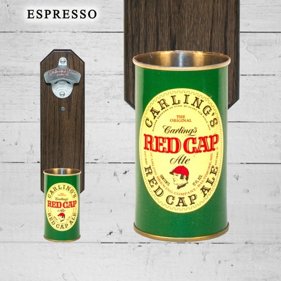 Wall Mounted Bottle Opener with Vintage Carling Red Cap Beer Can Cap Catcher