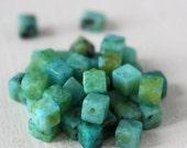 SALE Semi Precious Cube Beads - Chrysacolla Jasper - 4mm Cube Beads - Jewelry Making Supply (8 Inch Strand~50 beads)