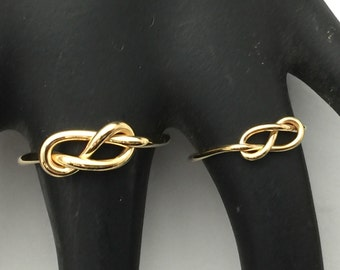 Infinity knot ring set of 2, his and her wedding bands, 14kt yellow or rose gold fill