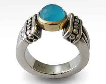 Sterling Silver Gold Ring, blue quartz ring, blue gemstone ring, two tones ring, engagement ring, filigree ring - Precious time R0950F