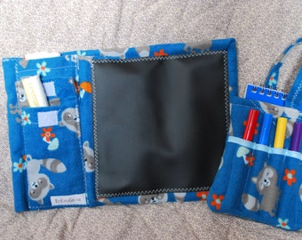 Two Piece Gift Set - Mini Chalkboard to Go and Little Author Tote - blue raccoons