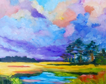 12 x 12 Modern Impressionist Original Oil Landscape Marsh Sunset by Rebecca Croft