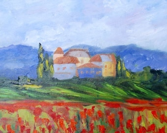 Tuscan Italy Poppy Fields Landscape Modern Impressionist Contemporary Original Oil Painting by Rebecca Croft