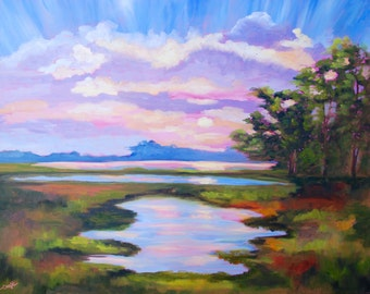 24 x 30 Large Modern Impressionist Original Oil Kiawah Island Sunset Landscape by Rebecca Croft