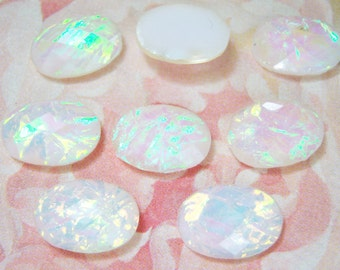 8 -14x10mm White acrylic opals, faceted oval cabochons - DE48