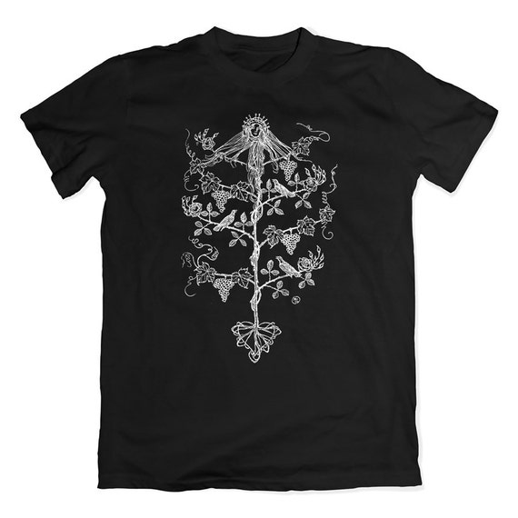 Edmund Sullivan Floral T-Shirt. Mystical Fantasy Tee. Vintage Flower Illustration Shirt.