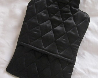 Quilted Silk Hot Water Bottle Cover - black, gift for her,