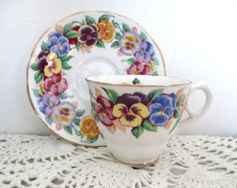Antique tea cup and saucer, Viola, Royal Stafford, 1940's, pansies, gold trim, English bone china, perfect for your Downton Abbey tea party