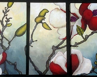 Red Magnolia Triptych