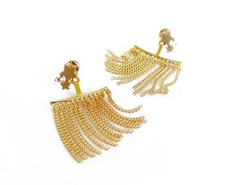 Zirconia Star Ear Jacket, Chain Ear Cuff Earrings, Ear Climber, Gold Ear Jacket, Silver Ear Jacket, Glam Ear Crawler