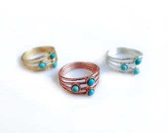 Turquoise Ring, Silver or Gold Turquoise Engagement Ring, Three Stone Ring, Wide Ring