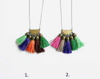 Boho Tassel Necklace, Long Colorful Necklace, Fringe Ethnic Necklace