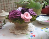 Lovely vintage style crochet basket with colored roses