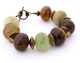Bold Jade Statement Bracelet, Chunky Bracelet, Beaded Bracelet