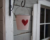 Small pail- heart design, painted bucket, painted pail, storage container, galvanized metal pail, gift card holder, baby shower gift, girl