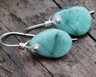 Emerald and Sterling Silver Dangle Earrings