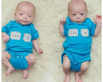 Copy & Paste Computer/Geek Chic TWIN Set of Bodysuits, Great Shower gift for TWINS or siblings