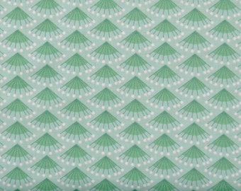 Green and White Fan Design Cotton Quilt Fabric for Sale, Rosette in Aqua, Camelot Fabrics' Make a Wish Collection, CAM2240503-2