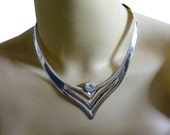 1970 Sterling Necklace Modernist Solid Silver Collar Choker with Cubic Zirconia Crystal Stone V-Shaped Sterling Necklace - 55 Grams