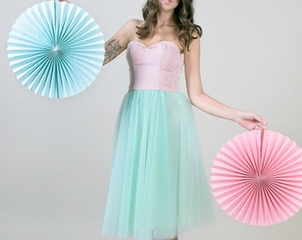Bubblegum two tone Strapless tulle dress / pink & mint Pastel dress