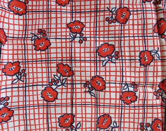 Vintage Red Blue Checkered Floral Print Fabric 2.8 yards Tiny Squares