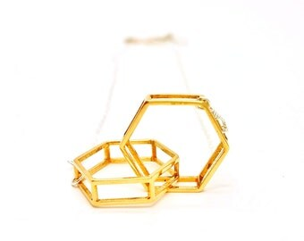 Interlocking Hexagons // Geometric Necklace // 3D Printed Brass (gold, rose gold, or rhodium) and Silver Necklace // Contemporary Jewelry
