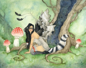 Raccoon Daughter - Fairy Art Original Watercolor Painting - 11x14 - fantasy. whimsical. woodland. animal. cute. forest. wild.