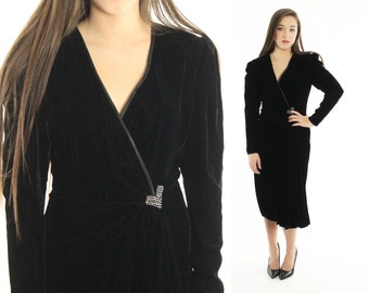 Vintage 80s Victor Costa Dress Black Velvet Wrap V Neckline Wiggle Puff Sleeves 1980s does 1940s Art Deco Small S LBD