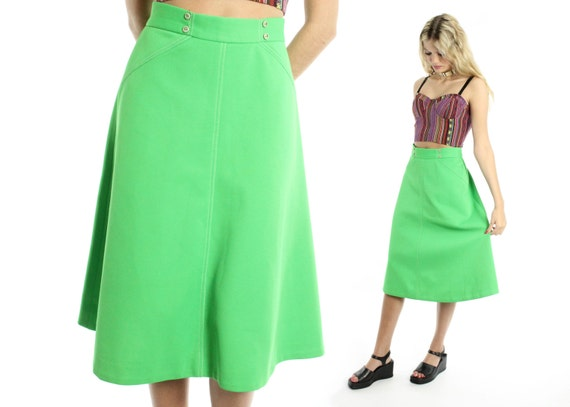 vintage 70s high waisted skirt lime green midi length a line
