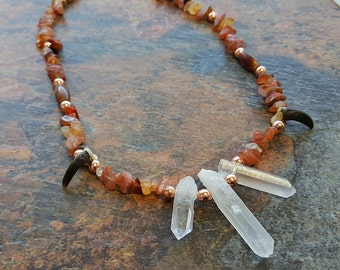 Quartz and Coyote Totem - Real Quartz Crystal and Coyote Claw Necklace