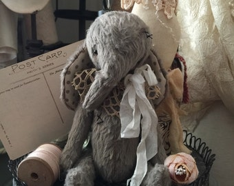 """New sewing pattern pdf e-pattern for 5"""" Tiny Size Elephant handmade Mohair artist bear vintage style"""