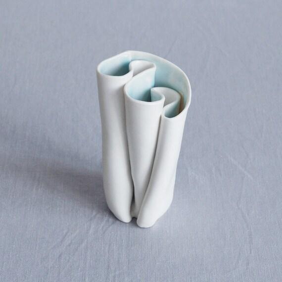 UNFOLDING No6 white porcelain vase, white glaze, celadon glaze, artisan vase, freeform vase, sculpted vase,