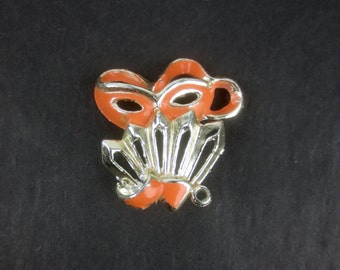 Vintage 1950's Masquerade Brooch - Delightful Mask & Fan Pin in gold and Tangerine