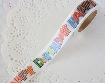 Happy Birthday Washi Tape - Scrapbooking - Gift Wrapping Supplies - Packaging Supplies - 1 Roll - 10 mt - Ready to Ship
