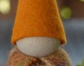 Burnt Orange, 1 Large wood and wool Waldorf doll toy