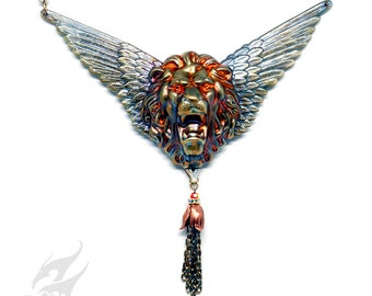 Winged Lion Necklace Swarovski Eyes Mythical Fantasy Victorian Style Steampunk Flame Patina Brass Solid Brass Copper Chain Tassel N0658