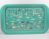 Turquoise Mid Century Metal Serving Tray Victorian Street Scenes 1960