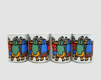 Vintage Mugs Marc Tetro Inuit Women  Canadian Collectibles by Danesco Set of 4