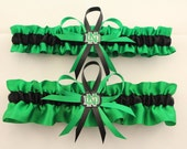 Green Satin Wedding Garter Set with University of North Dakota Colors, Bridal Garter, Prom Garter  (Your Choice, Single or Set)