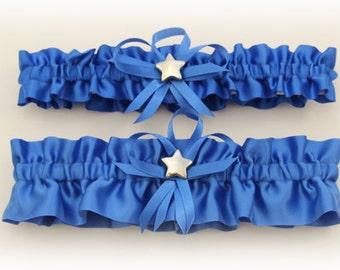 Royal Blue Wedding Garter Set with Star Charms  (Your Choice, Single or Set)