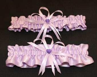 Satin Orchid Lavender Color Wedding Garter Set with Charms,  Bridal Garter Set  (Your Choice, Single or Set)