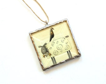 Stained glass ornament, rustic country prim, sheep and crow ornament, prim home decor, unique whimsical, hanging ornament