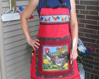 Rooster and Hen Baker's Full Length Apron - Lined