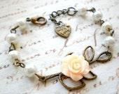 Flower Girl Gift Pastel Bracelet Baby Girl Jewelry Leaf Nature Bracelet Pearl Wedding Jewelry Flower Girl Bracelet Junior Bridesmaid